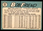 1965 Topps #392  Bob Friend  Back Thumbnail