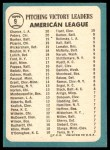1965 Topps #9   -  Wally Bunker / Dean Chance / Gary Peters / Juan Pizarro / Dave Wickersham AL Pitching Leaders Back Thumbnail