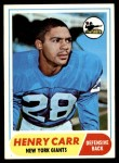 1968 Topps #57  Henry Carr  Front Thumbnail