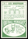 1968 Topps #53  Les Josephson  Back Thumbnail