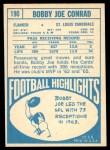 1968 Topps #190  Bobby Joe Conrad  Back Thumbnail