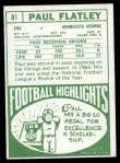 1968 Topps #81  Paul Flatley  Back Thumbnail