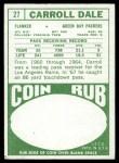1968 Topps #27  Carroll Dale  Back Thumbnail