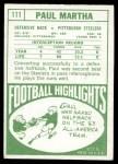 1968 Topps #111  Paul Martha  Back Thumbnail