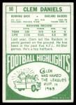 1968 Topps #90  Clem Daniels  Back Thumbnail