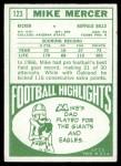 1968 Topps #123  Mike Mercer  Back Thumbnail