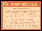 1964 Topps #536   -  Larry Elliot / John Stephenson Mets Rookies Back Thumbnail