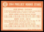 1964 Topps #482   -  Johnny Briggs / Danny Cater Phillies Rookies Back Thumbnail