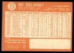 1964 Topps #315  Bo Belinsky  Back Thumbnail