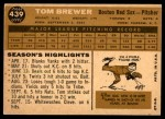 1960 Topps #439  Tom Brewer  Back Thumbnail