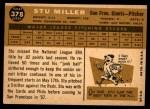 1960 Topps #378  Stu Miller  Back Thumbnail