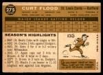 1960 Topps #275  Curt Flood  Back Thumbnail