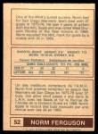 1977 O-Pee-Chee WHA #52  Norm Ferguson  Back Thumbnail