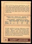 1977 O-Pee-Chee WHA #26  Garry Lariviere  Back Thumbnail
