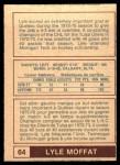 1977 O-Pee-Chee WHA #64  Lyle Moffat  Back Thumbnail
