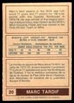1977 O-Pee-Chee WHA #20  Marc Tardif  Back Thumbnail