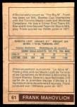 1977 O-Pee-Chee WHA #61  Frank Mahovlich  Back Thumbnail