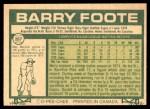1977 O-Pee-Chee #207  Barry Foote  Back Thumbnail