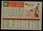 1959 Topps #334  Glen Hobbie  Back Thumbnail