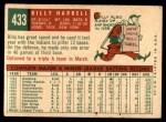 1959 Topps #433  Billy Harrell  Back Thumbnail