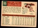 1959 Topps #105  Lee Walls  Back Thumbnail