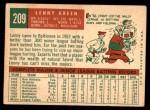 1959 Topps #209  Lenny Green  Back Thumbnail