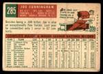 1959 Topps #285  Joe Cunningham  Back Thumbnail