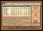 1978 O-Pee-Chee #89  Bill Madlock  Back Thumbnail