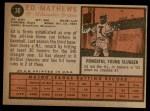 1962 Topps #30  Eddie Mathews  Back Thumbnail