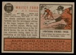 1962 Topps #310  Whitey Ford  Back Thumbnail
