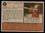 1962 Topps #93  John Blanchard  Back Thumbnail