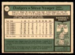 1979 O-Pee-Chee #31  Steve Yeager  Back Thumbnail