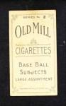 1910 T210-2 Old Mill Virginia League  Vail  Back Thumbnail