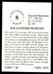 1976 SSPC #38  Joe Morgan  Back Thumbnail