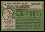 1978 Topps #200  Walter Payton  Back Thumbnail