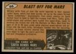 1962 Topps / Bubbles Inc Mars Attacks #46   Blast Off for Mars  Back Thumbnail