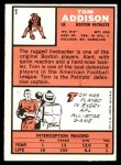 1966 Topps #1   Tommy Addison  Back Thumbnail