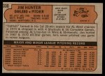 1972 Topps #330  Catfish Hunter  Back Thumbnail