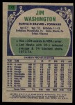 1975 Topps #172  Jim Washington  Back Thumbnail