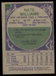 1975 Topps #182  Nate Williams  Back Thumbnail