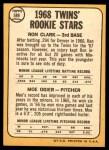 1968 Topps #589   -  Ron Clark / Moe Ogier Twins Rookies Back Thumbnail