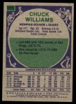 1975 Topps #315  Chuck Williams  Back Thumbnail