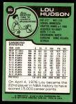 1977 Topps #85  Lou Hudson  Back Thumbnail