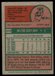 1975 Topps #279  Milt May  Back Thumbnail
