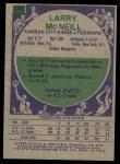 1975 Topps #142  Larry McNeil  Back Thumbnail