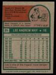 1975 Topps #25  Lee May  Back Thumbnail