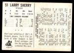 1962 Bell Brand Dodgers #51  Larry Sherry  Back Thumbnail