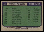 1975 Topps #321   Denver Nuggets Back Thumbnail