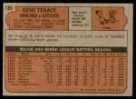 1972 Topps #189  Gene Tenace  Back Thumbnail