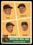 1960 Topps #456   -  Rudy York / Billy Herman / Sal Maglie / Del Baker Red Sox Coaches Front Thumbnail